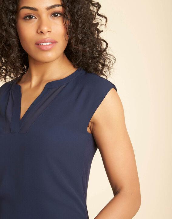Tee-shirt marine bimatière manches courtes col résille Bianca PhotoZ | 1-2-3