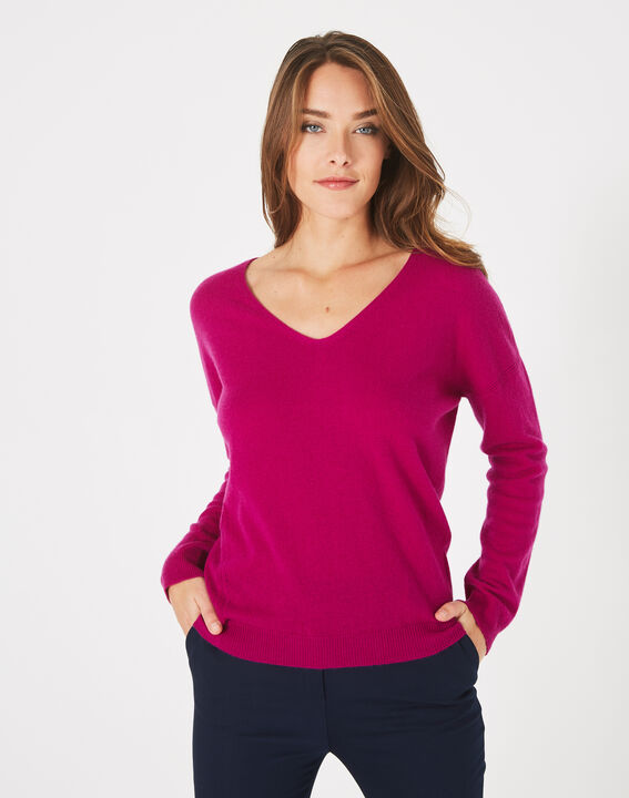 Piment fuchsia cashmere sweater with V-neck (2) - 1-2-3