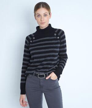 Pull col roulé en laine recyclée et cachemire noir et gris Thales