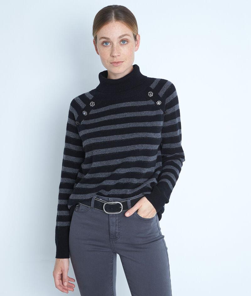 Pull col roulé en laine recyclée et cachemire noir et gris Thales  PhotoZ | 1-2-3