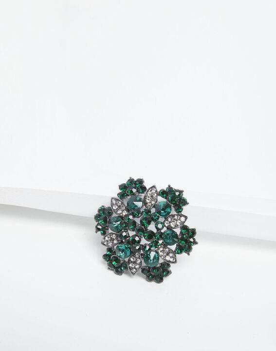 Blumenbrosche, silberfarben und smaragdgrün Xane (1) - 1-2-3