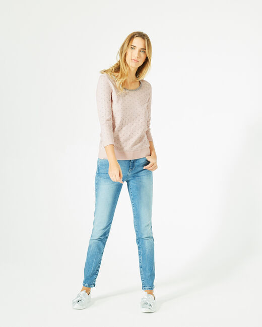 Prisme pale pink sweater with silver polka dot detailing and a rounded neckline (2) - 1-2-3
