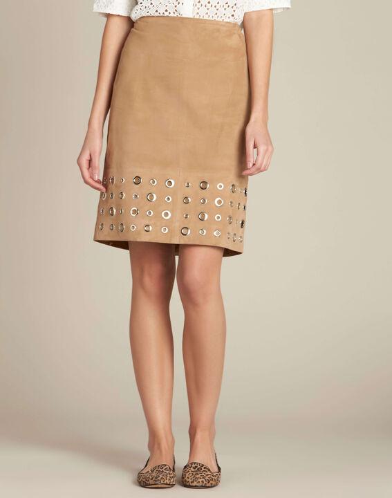 Lilou beige suede skirt (3) - 1-2-3