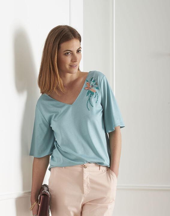 Tee-shirt bleu fleur brodée Pearl PhotoZ | 1-2-3