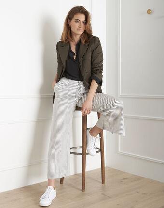 Pantalon blanc large rayé goyave blanc.