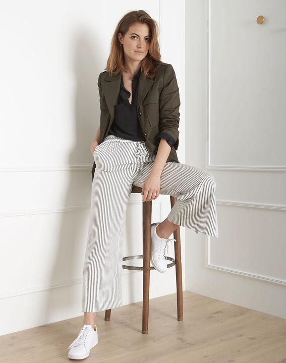 Pantalon blanc large rayé Goyave (2) - Maison 123