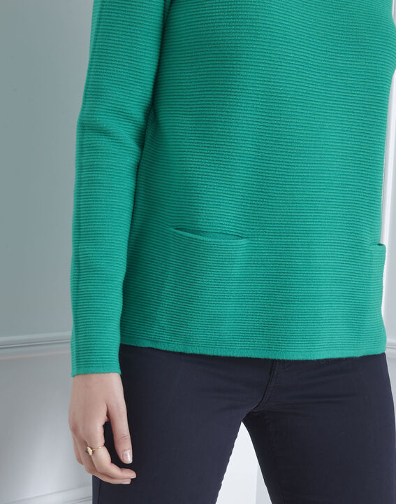 Groene trui met fijn breiwerk en hoge kraag Belize (3) - Maison 123