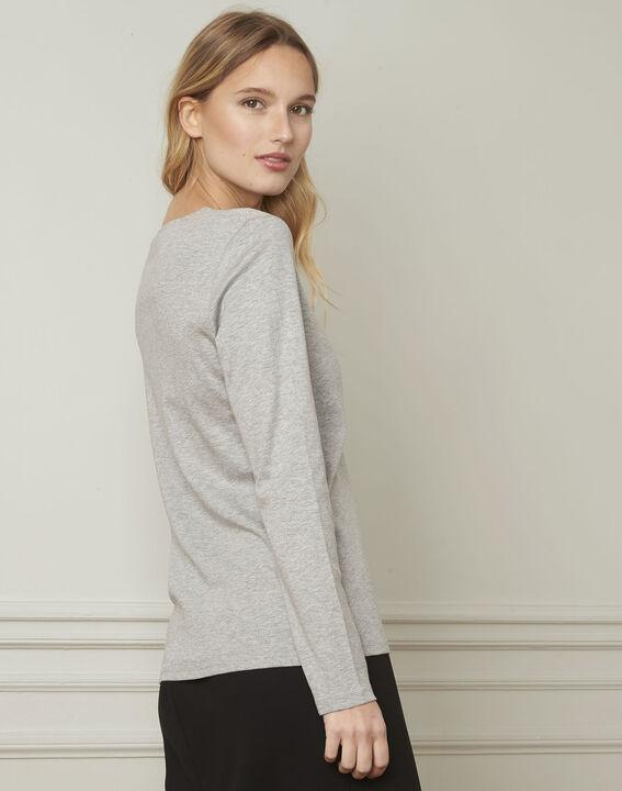 T-shirt gris encolure V lurex Etincelante (3) - Maison 123