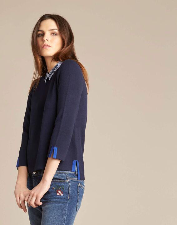 Noémie navy blue sweater with shirt collar (3) - 1-2-3