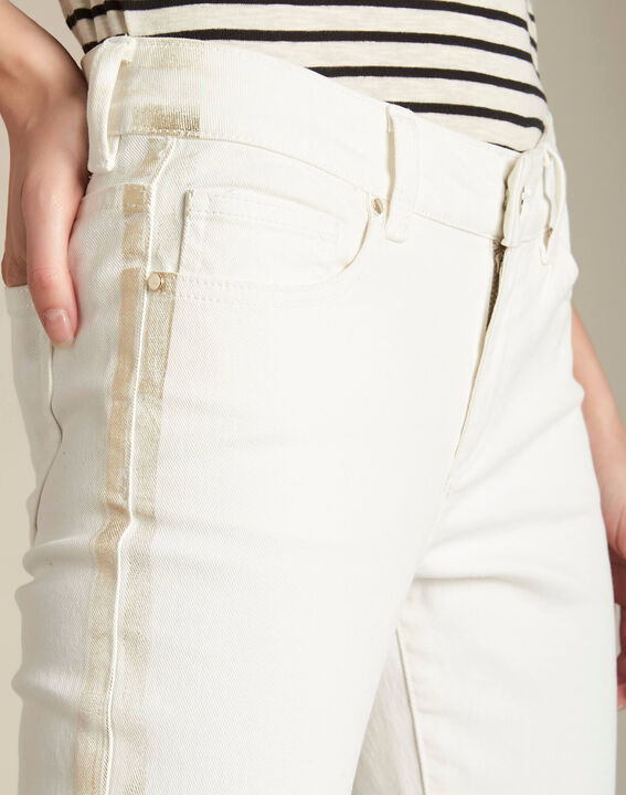 Turenne slim-cut white trousers with golden band PhotoZ | 1-2-3