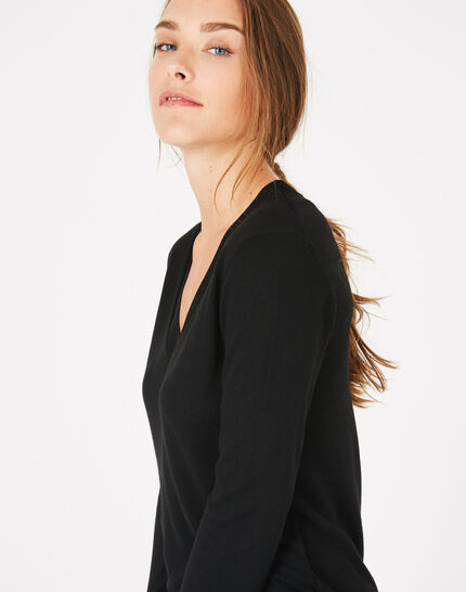 Schwarzer Pullover mit V-Ausschnitt Pépite (4) - 1-2-3