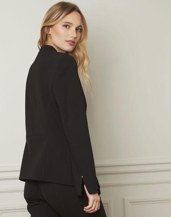 Majeste black tailored microfibre jacket (3) - Maison 123