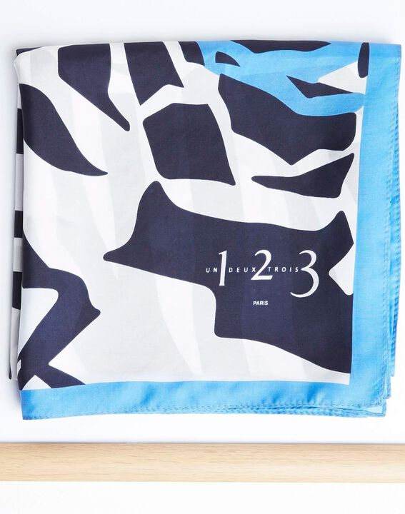 Angel blue graphic floral printed square scarf in silk (2) - 1-2-3