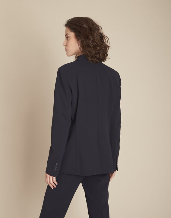 Stella navy blue jacket with cowl microfibre neckline (4) - 1-2-3