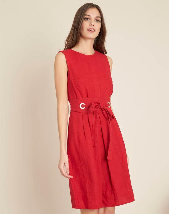 Poppy red linen dress with belt (3) - 1-2-3
