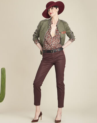 Canelle light green blouse with camouflage print kaki.