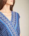Marineblauwe jumpsuit in wikkelmodel met etnische print Planete (1) - 37653
