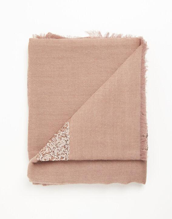 Foulard rose pâle sequins en laine Fiona (3) - 1-2-3