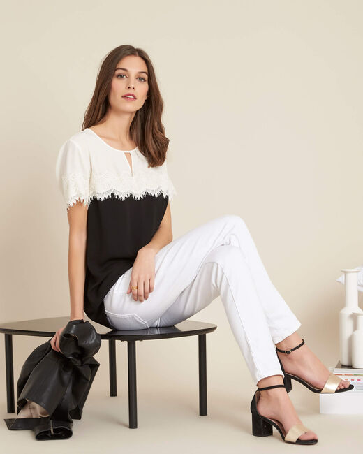 Goji black and white lace T-shirt  (1) - 1-2-3