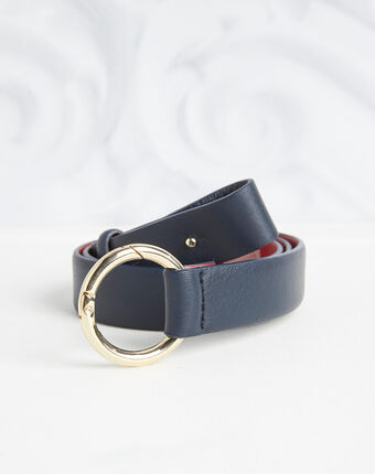 Romie navy belt with ring in leather navy.