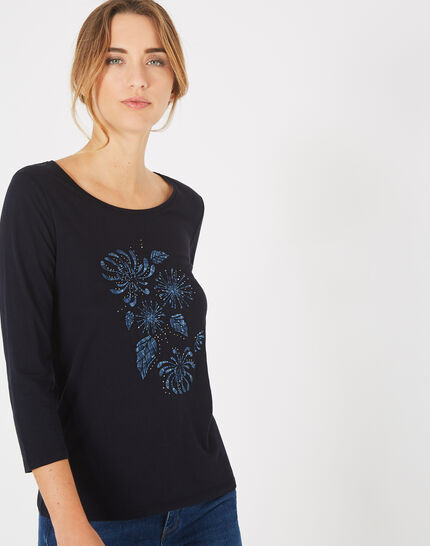Marineblaues T-Shirt mit Stickerei Bouquet (2) - 1-2-3