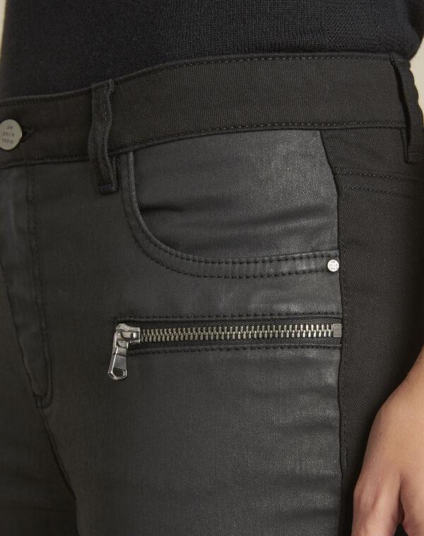 Vendome black bi-material coated 7/8 jeans (2) - 1-2-3