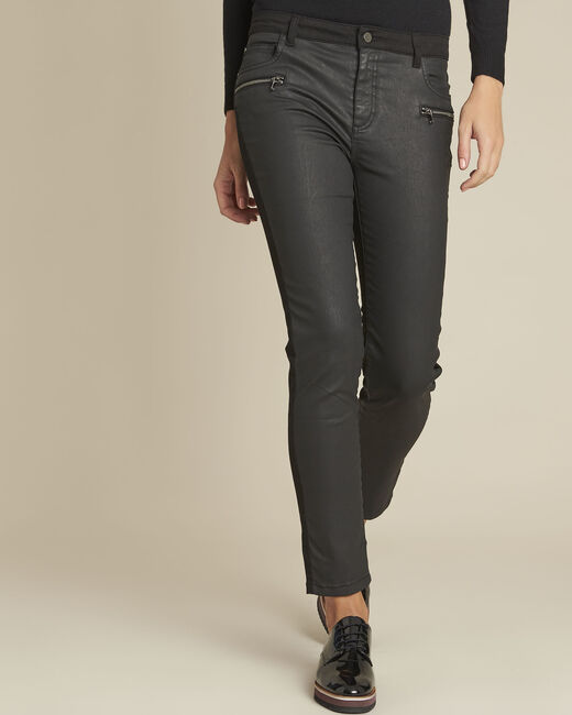 Vendome black bi-material coated 7/8 jeans (1) - 1-2-3