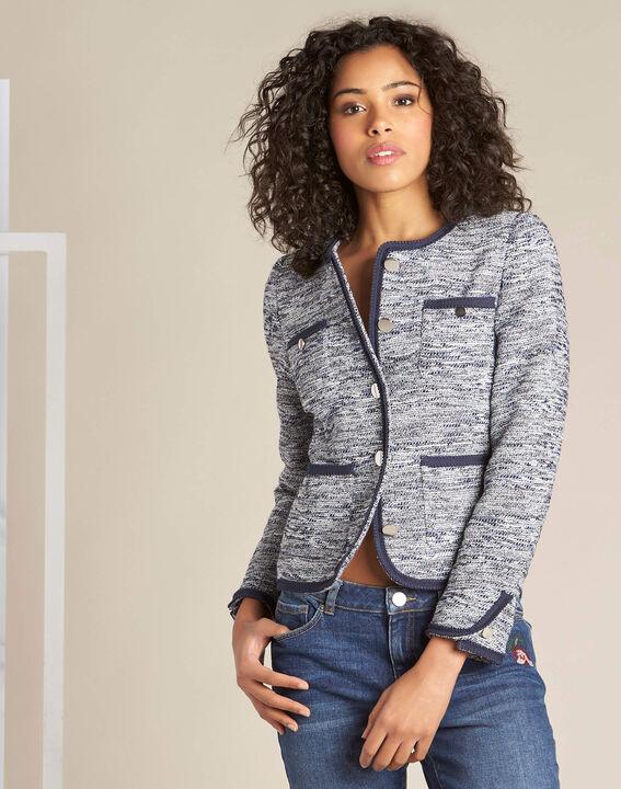 Extreme navy blue collarless jacket (3) - 1-2-3