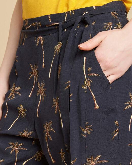 Pantalon noir imprimé palmier Scoty (1) - 1-2-3