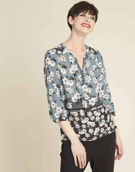 Clap navy blue blouse with floral print (1) - 1-2-3