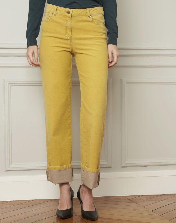 Jean jaune délavé évasé en coton Chica (2) - Maison 123