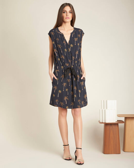 Palmeraie black printed dress with granddad neckline (2) - 1-2-3