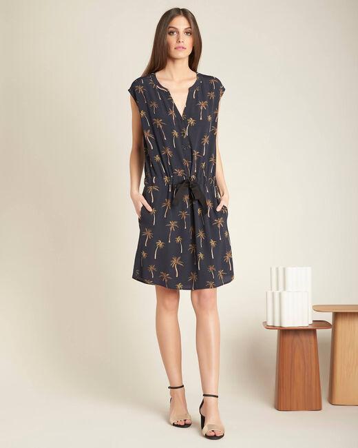 Schwarzes Print-Kleid mit Tunika-Kragen Palmeraie (1) - 1-2-3