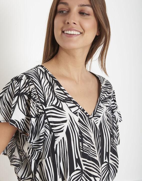 Blouse noir et blanc imprimé feuillage Villiers PhotoZ | 1-2-3