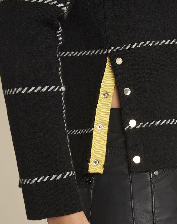 Pull noir rayé en laine mélangée British (3) - 1-2-3