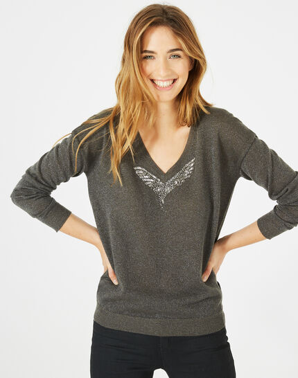 Phoenix shiny khaki sweater with open back (3) - 1-2-3