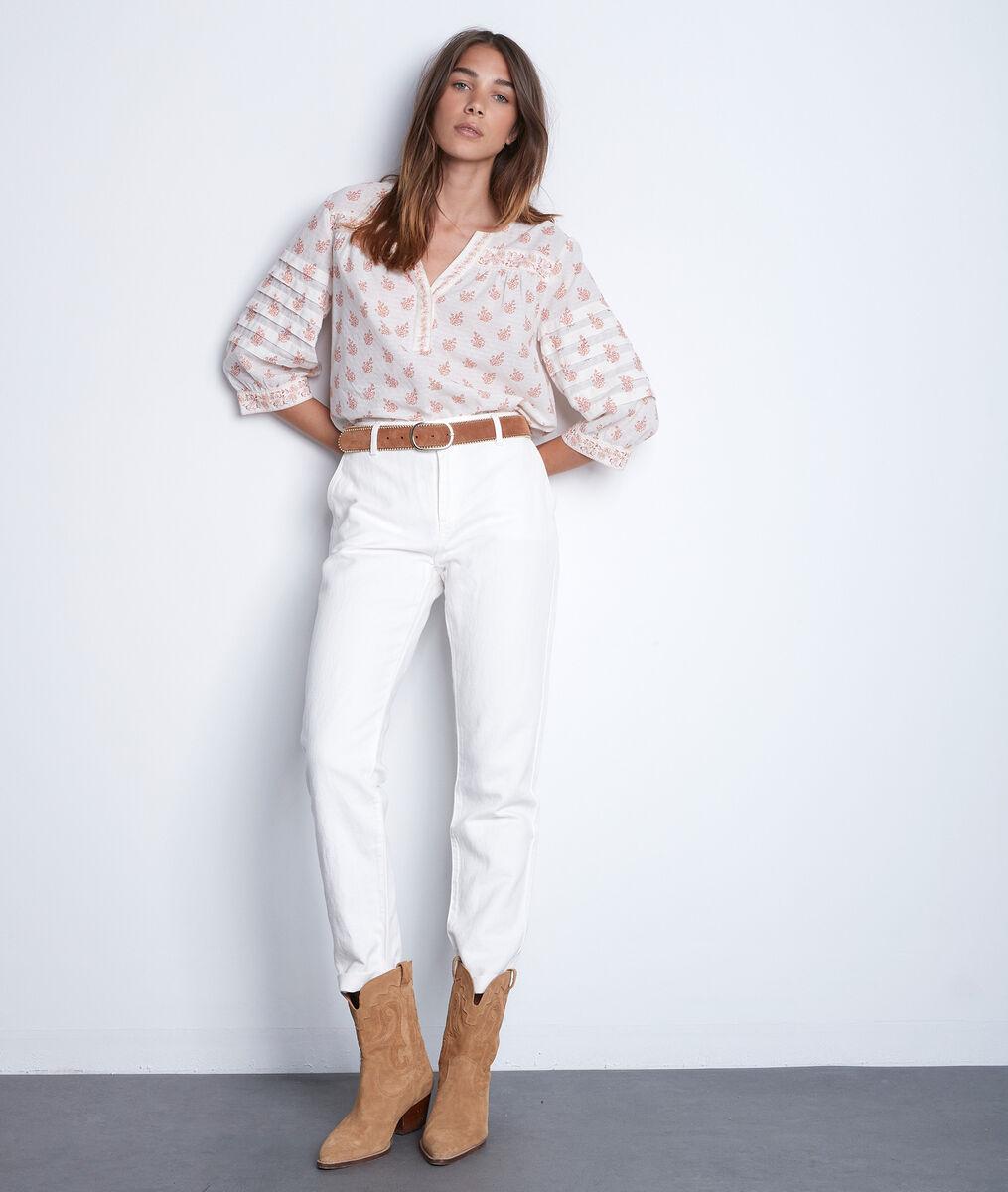 Pantalon droit en coton et lin écru Farel PhotoZ | 1-2-3