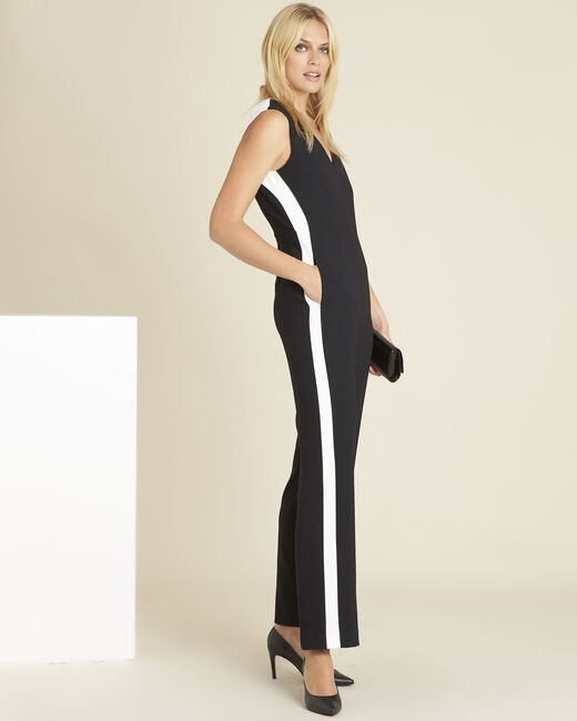 Dorine black crêpe playsuit with lateral bands (1) - 1-2-3