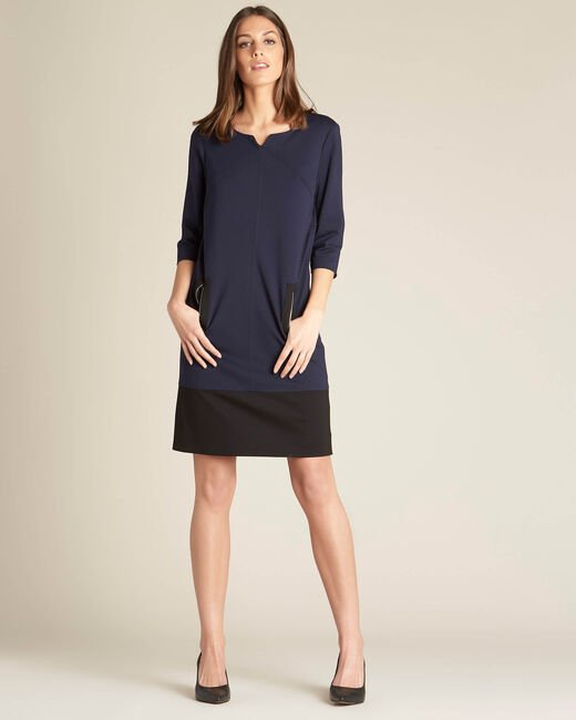Patty straight-cut navy blue dress with zips (1) - 1-2-3