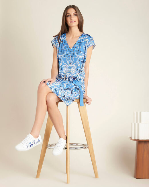 Pauline sky blue floral printed dress with belt (1) - 1-2-3