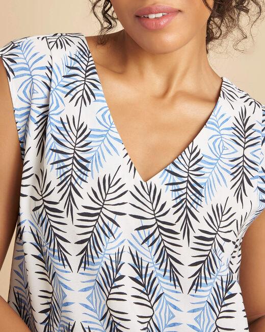 Pretty navy V-neck dress with ethnic print (2) - 1-2-3