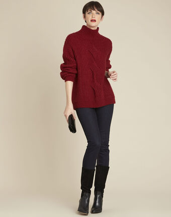 Barca red high collar swirl mohair pullover red.