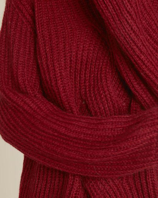 Roter Stehkragenpullover mit Zopfmuster aus Mohair Barca (2) - 1-2-3