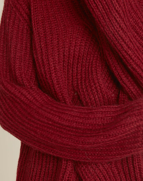 Pull rouge col montant torsade mohair Barca (3) - 1-2-3