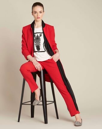 Lara red slim-cut fitted jeans red.