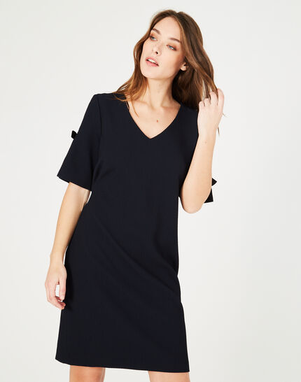 Bella navy blue dress in relief (3) - 1-2-3