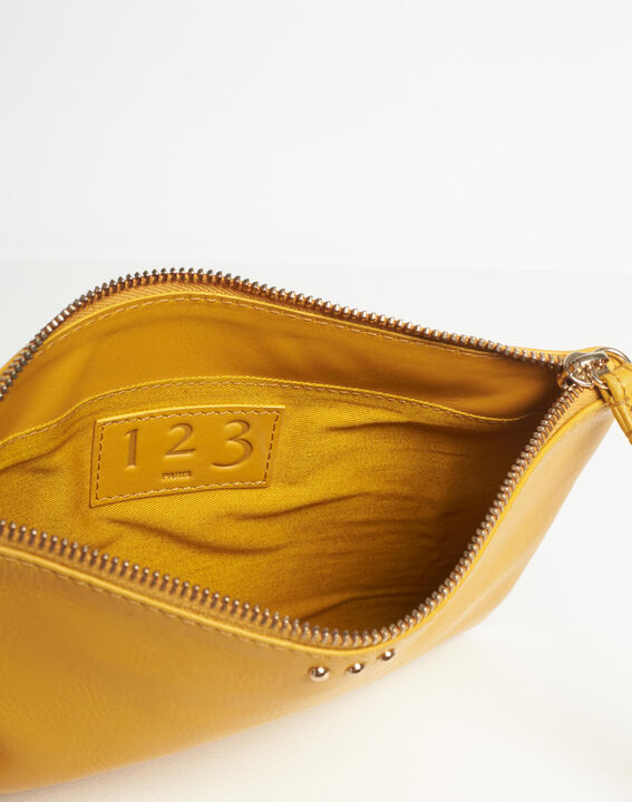 Droopy pale yellow clutch with leather straps (5) - 1-2-3