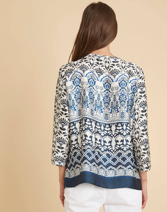 Douna navy blue blouse with floral print (4) - 1-2-3