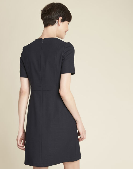 Delia short navy blue dress with button detailing (4) - 1-2-3