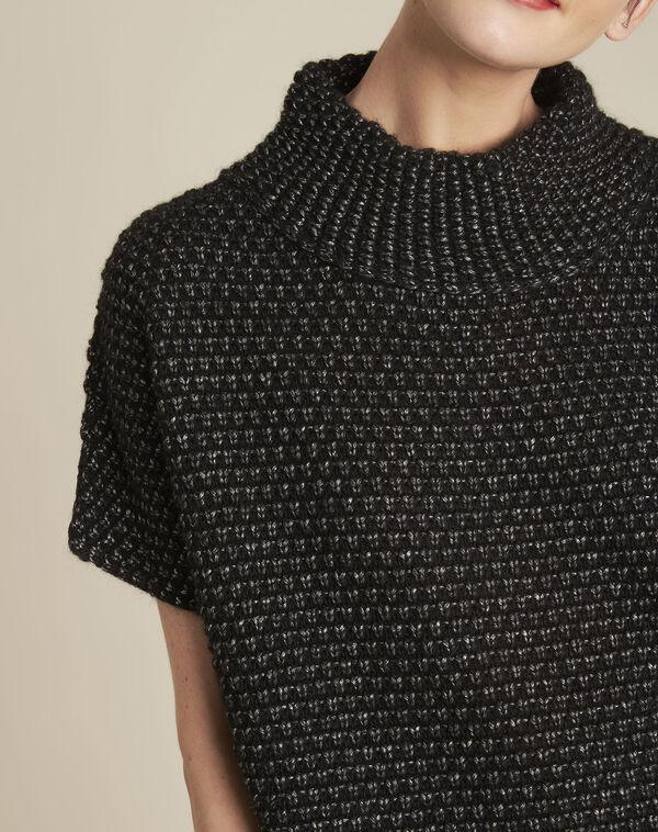 Zwarte trui met hoge kraag van gemengd wol Bami (2) - 37653